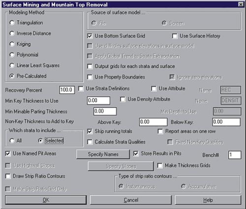 Рис. 6. Окно для задания параметров расчета объемов