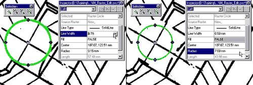 Растровая окружность, выбранная одним нажатием кнопки мыши и отредактированная растровая окружность (изменены толщина линии и радиус)