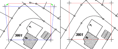 Фрагмент изображения до калибровки и растровое изображение после калибровки
