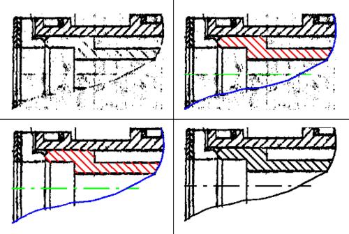 Исходный растр (верхняя левая иллюстрация), исходный растр с восстановленными объектами (верхняя правая иллюстрация), удаление мусора (левая нижняя иллюстрация) и готовое отреставрированное изображение (правая нижняя иллюстрация)