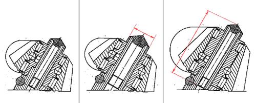 Исходная деталь (левая иллюстрация), увеличение детали (средняя иллюстрация) и осевое масштабирование детали (правая иллюстрация)