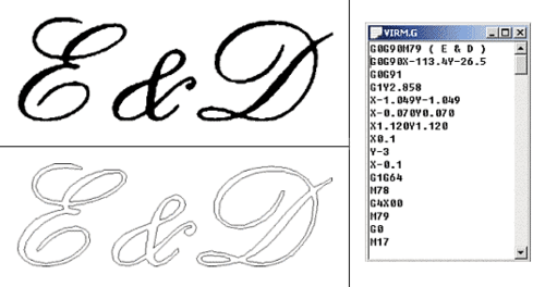 ris Отсканированный логотип компании (верхняя левая иллюстрация), векторное представление логотипа (нижняя левая иллюстрация) и фрагмент готовой программы (правая иллюстрация)