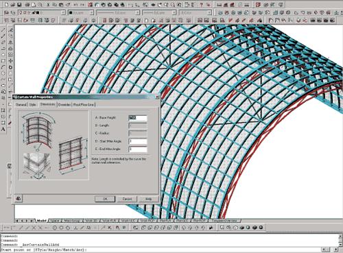 Рис. 3. Пример витражной конструкции, выполненной с помощью новых инструментов Curtain Walls и Structural Members