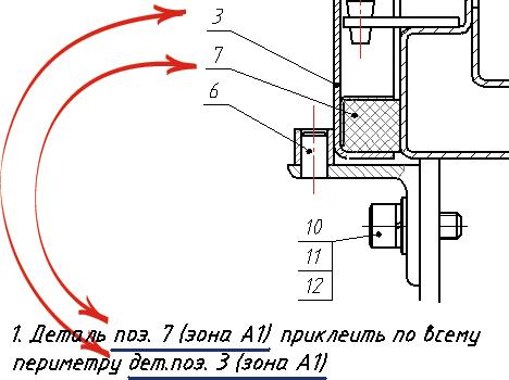 Связанные номера позиций на чертеже и ссылки на них в технических требованиях