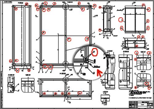 Стрелкой указано общее обозначение обведенных окружностью сварных швов с просчитанным суммарным значением швов