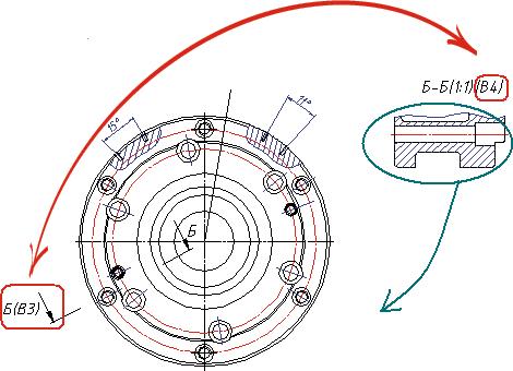 Первоначально проставленные зоны в обозначении сечения Б-Б