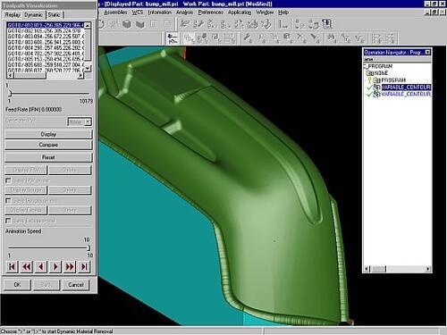 Рис. 2. Визуализация движения фрезы с удалением материала при обработке оснастки для изготовления автомобильного бампера