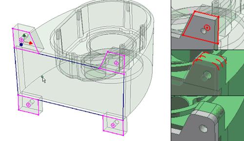 Для создания плиты основания редуктора можно воспользоваться контурами лапок корпуса редуктора. При изменении контура исходной детали автоматически меняется форма, связанной с ней плиты (иллюстрация слева); Увеличиваем диаметр крепежного отверсти (верхняя правая иллюстрация); Скругляем края лапки (средняя правая иллюстрация); Автоматически меняется форма плиты (нижняя правая иллюстрация)