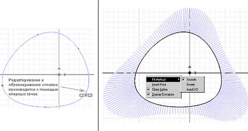 Поддерживается три метода расчета сплайновой кривой: минимальных степеней (Smooth), центростремительный (Sweet) и метод, используемый в AutoCAD