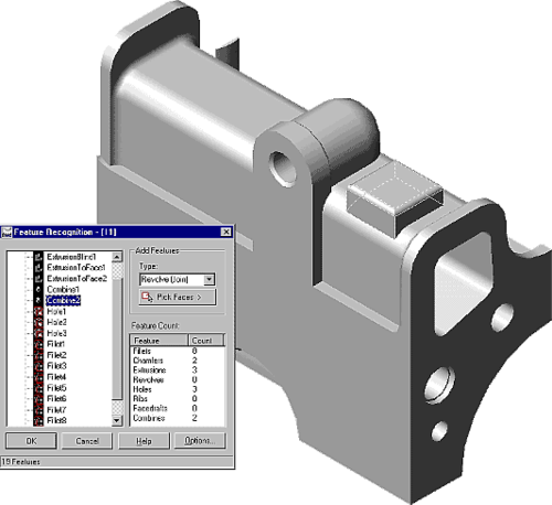 Feature Recognition работает в автоматическом и полуавтоматическом режимах. О высоком интеллекте этого модуля говорит перечень распознаваемых элементов MDT: фаски, сопряжения, отверстия, выдавливание, вращение, ребра, литейные уклоны и даже Булевы операции!
