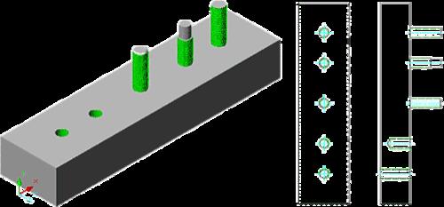 Для обозначения резьбы на внутренних и внешних цилиндрических и конических поверхностях используется инструмент «Резьба» (Thread). При создании чертежных проекций по моделям с резьбой автоматически формируется обозначение резьбы в плане