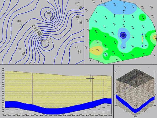 Рис. 5 (верняя левая иллюстрация). Изолинии подошвы угля; Рис. 6 (верняя правая). Заштрихованные зоны мощности угля; Рис. 8 (нижняя левая иллюстрация). Разрез месторождени; Рис. 9 (нижняя правая). Блок-диаграмма