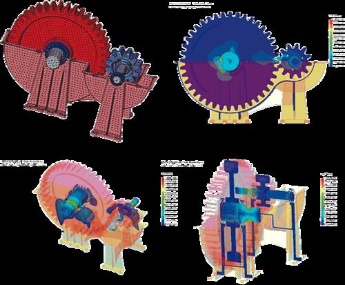 Иллюстрация сверху слева: Конечно-элементное представление редуктора, учитывающее наличие контактного взаимодействия его компонент (COSMOS/DesignSTAR); Иллюстрация сверху справа: Поле эквивалентных напряжений в продольном сечении редуктора; в качестве нагрузки - момент, приложенный к оси ведущей шестерни; Иллюстрация снизу слева: Изоповерхности эквивалентных напряжений в редукторе; Иллюстрация снизу справа: Распределение эквивалентных напряжений в двух выделенных сечениях редуктора