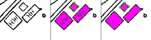 Рис. 11. Трассировка контуров (слева направо: исходное изображение; с учетом внутреннего содержания контуров; без учета внутреннего содержания контуров)