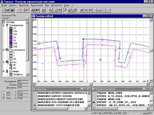 Рис. 3. Выполнение УП: согласованная отработка команд в тексте УП, графическом окне и программе на языке Техтран