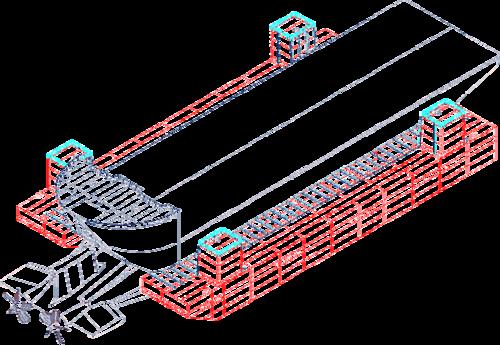 Риc. 13. Рабочая схема транспортировки: баржа «Giant», понтоны проекта 067, АПЛ «Курск»