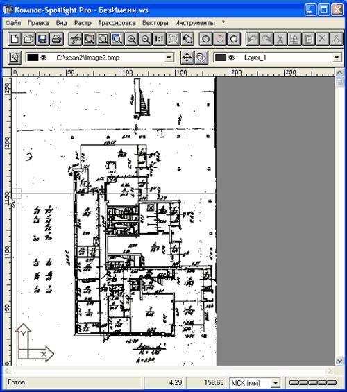 Рис. 1. Фрагмент поэтажного плана после сканировани