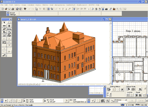 Рис. 3. Модель здания, выполненная в ArchiCAD