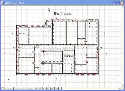 Рис. 5. Поэтажный план, созданный программой ArchiCAD