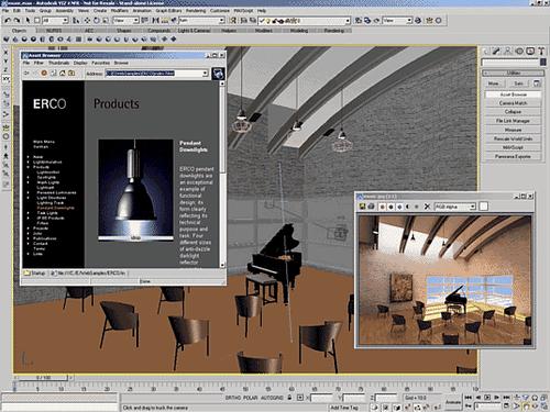 В Autodesk VIZ есть возможность перетаскивать готовые светильники с web-сайтов производителей непосредственно в сцену...