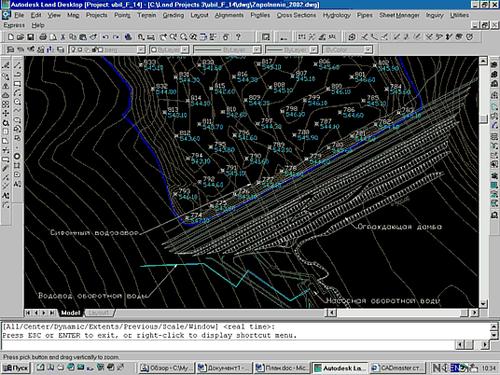 Рис. 2. План гидроузла с отметками глубин емкости
