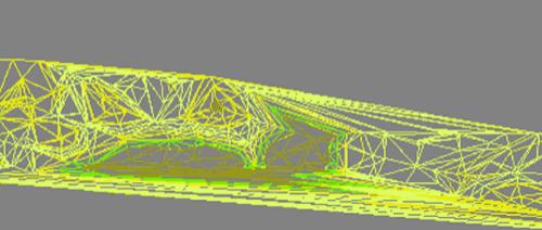 Рис. 2. Триангуляционная сеть, раскрашенная по диапазонам высот