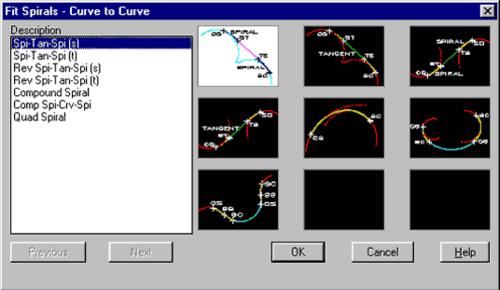 Рис. 5. Способы вставки переходных кривых между дугами