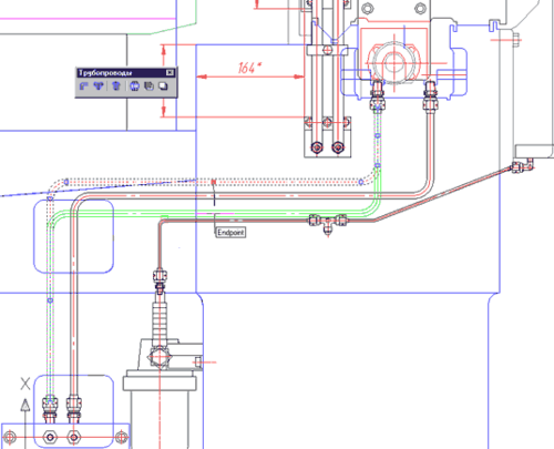 Направление выделенного участка трубопровода изменено на горизонтальное, показано перемещение участка вниз за узловую точку