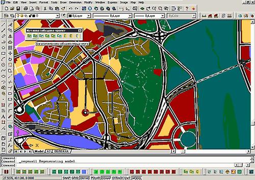 Рис. 1. Работа над основным чертежом генерального плана. Нанесение зон многоэтажной застройки (первая очередь) с использованием разработанного приложения