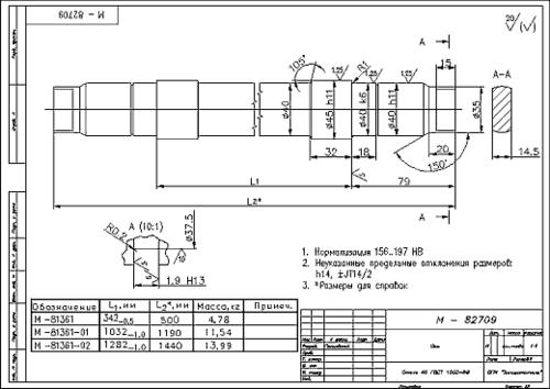 Чертеж оси конвейерного ролика, оформленный в AutoCAD LT + MechaniCS