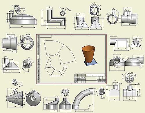 Библиотека COPRA MetalBender TD-i содержит огромное количество разворачиваемых и неразворачиваемых (поверхности двойной кривизны) деталей конструкции сетей вентиляции, отопления и кондиционирования. Это стыки штуцеров, отводы, переходы с диаметра на диаметр и с сечения на сечение, тройники и их модификации. Входящий в COPRA MetalBender TD-i модуль построения разверток предоставляет возможность получить исходную заготовку детали с учетом физических свойств материала. А совместное c COPRA использование CAM-пакетов (например, Техтран/Раскрой листового материала) позволит оптимальным образом разложить на листе заготовки нескольких деталей, подготовить управляющую программу для машин термо- и гидрорезки и карту раскроя для гильотинных ножниц