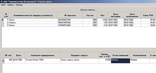 Рис. 1. Данные о запросе в программе «Расчет цен»
