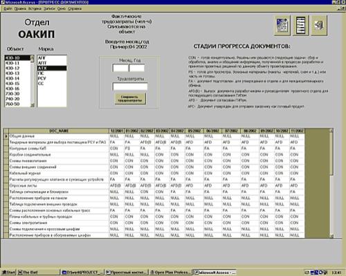 Рис. 4. Пример приложения для сбора данных о фактическом прогрессе проектной документации