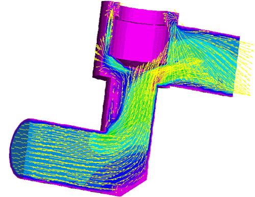 Расчет 3D-течения жидкости в кране с частично закрытым проходным сечением (АО ПК «Спла»)