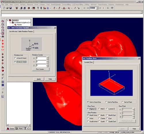 Обрабатываемая геометрия позиционируется с точки зрения ее положения на станке. Задается начало системы координат и ось вращения