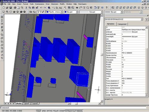 Рис. 4. 3D-вид щита с просмотром параметров приборов
