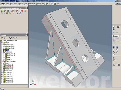 Решения Autodesk предлагают не только инструмент, но и готовые технологические цепочки. Со второй версии Inventor существует интегрированная среда проектирования изделий из тонколистового материала. В Autodesk Inventor 6 появилась новая среда - проектирование сварных конструкций, а также предложены удобные инструменты трассировки трубопроводов и других линейных объектов
