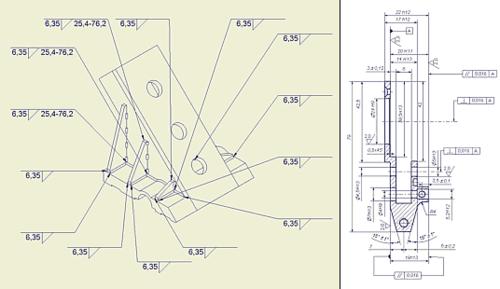 Оформление чертежей в Autodesk Inventor 6 осуществляется действительно удобно и быстро. Инструментарий хорошо сбалансирован и позволяет обеспечить полную совместимость со стандартами ЕСКД. Большое количество информации, помимо размеров модели (информация по отверстиям, сварным швам), поступает на чертеж из модели изделия