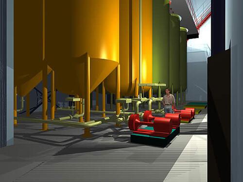 Технологическое оборудование и трубопроводы, выполненные в PLANT-4D