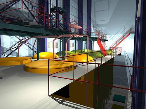 Технологическое оборудование и трубопроводы, выполненные в PLANT-4D, работающем совместно с Autodesk Architectural Desktop