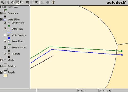 Отредактированные «на лету» данные отображены в проекте Autodesk MapGuide