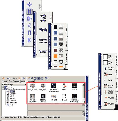 Пользовательские панели инструментов могут включать часто используемые библиотеки блоков, чертежей и штриховок. Сами панели конструируются путем перетаскивания (drag&drop) блоков из Центра управления (DesignCenter) AutoCAD