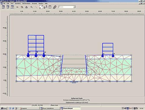 Рис. 2. Деформированная система «основание-сооружение» для варианта консольной стенки на момент начала потери устойчивости