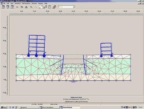 Рис. 3. Деформированная система «основание-сооружение» для варианта крепления стенки грунтовыми анкерами