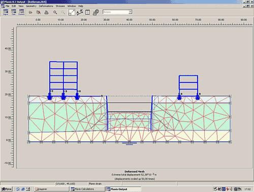 Рис. 4. Деформированная система «основание-сооружение» для варианта крепления стенки горизонтальными распорками