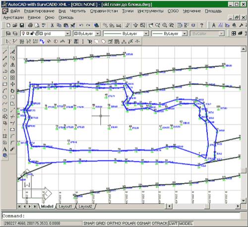 Рис. 2. Синие линии - границы верхней и нижней бровки уступа, черные линии - горизонтали