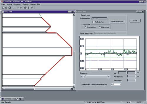 «Отпечатки пальце» роликов: автоматическое сравнение сканированного (измеренного) профиля с паспортным
