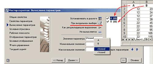 Задание параметрам «А» и «В» свойства визуального (динамического) выбора