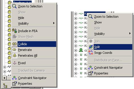 Рис. 14. Меню visualNastran Desktop 4D: справа - для подавления шарнирных зависимостей, слева - для определения соударяющихся деталей