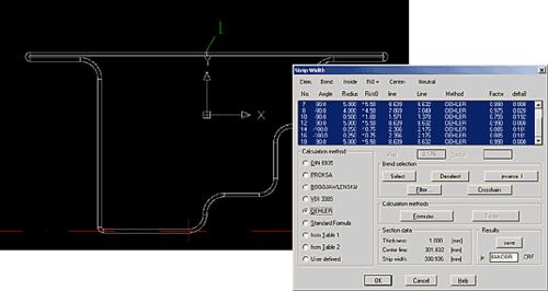 Когда готовый профиль получен, COPRA Rollform предлагает автоматически посчитать его развертку - ширину полосы заготовки